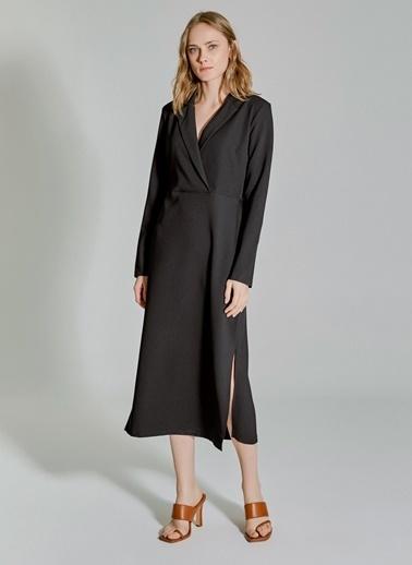 People By Fabrika Kruvaze Yırtmaçlı Elbise Siyah